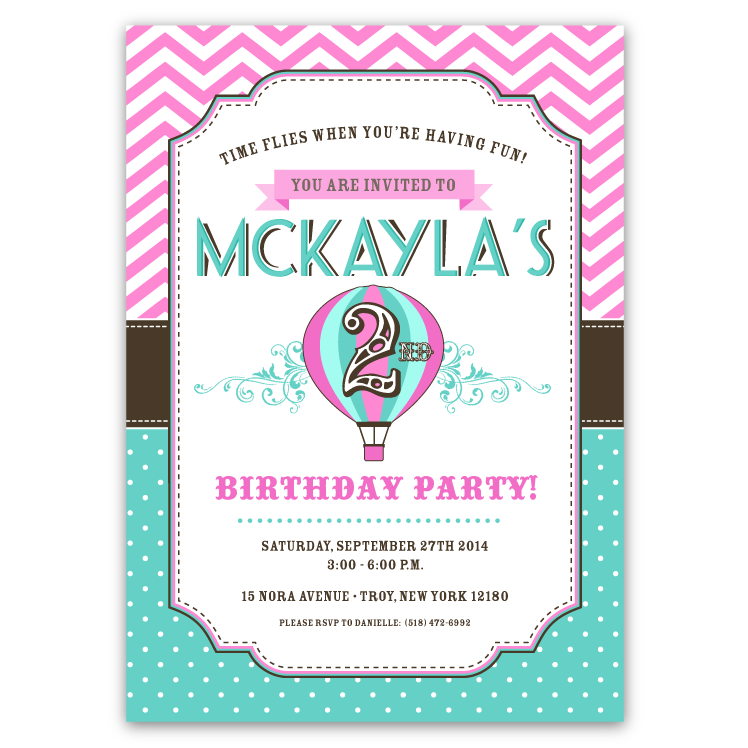 Hot air balloon birthday party invitations pink teal ian hot air balloon birthday party invitations pink teal filmwisefo