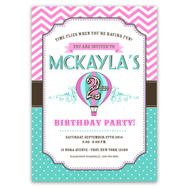 Hot Air Balloon Birthday Party Invitations (pink & teal)