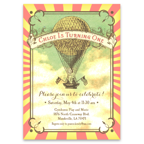 Vintage Style Hot Air Balloon Party Invitations in Pink and Yellow
