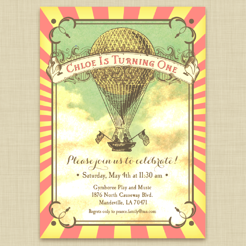 Vintage Style Hot Air Balloon Party Invitations in Pink and Yellow ...