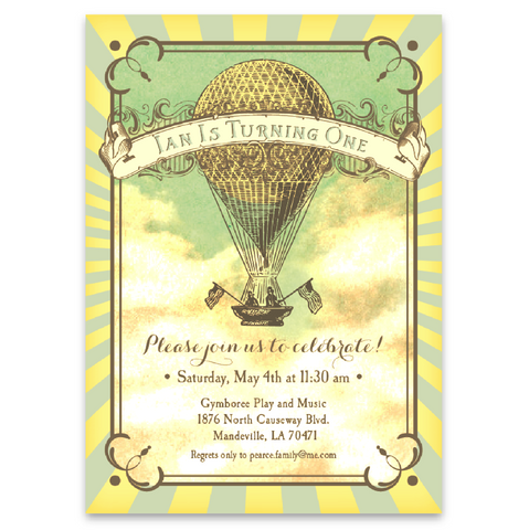 Vintage Style Hot Air Balloon Party Invitations in Blue and Yellow