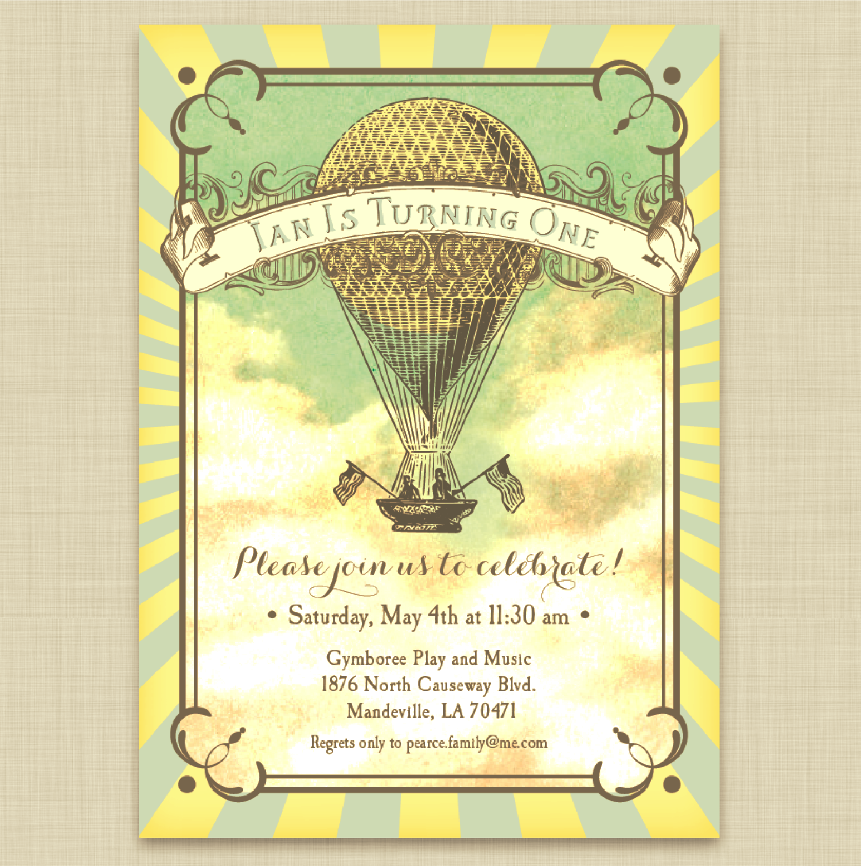 Vintage Style Hot Air Balloon Party Invitations in Blue and Yellow ...