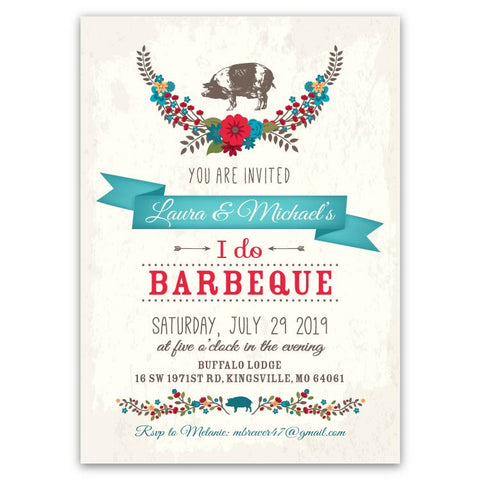 """I Do BBQ"" Party Invitations"