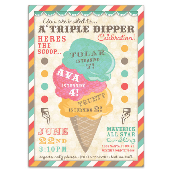 Ice Cream Parlor Birthday Invitation