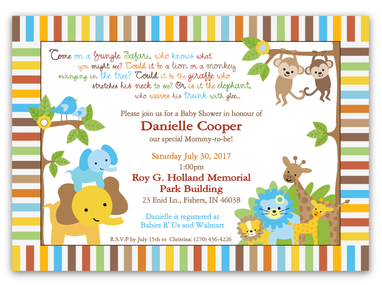 jungle babies baby shower invitations boy