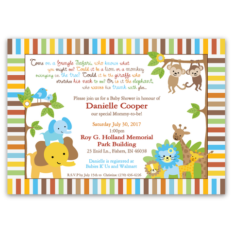 Jungle Babies Baby Shower Invitations (boy)