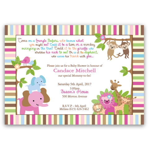 Jungle Babies Baby Shower Invitations (girl)