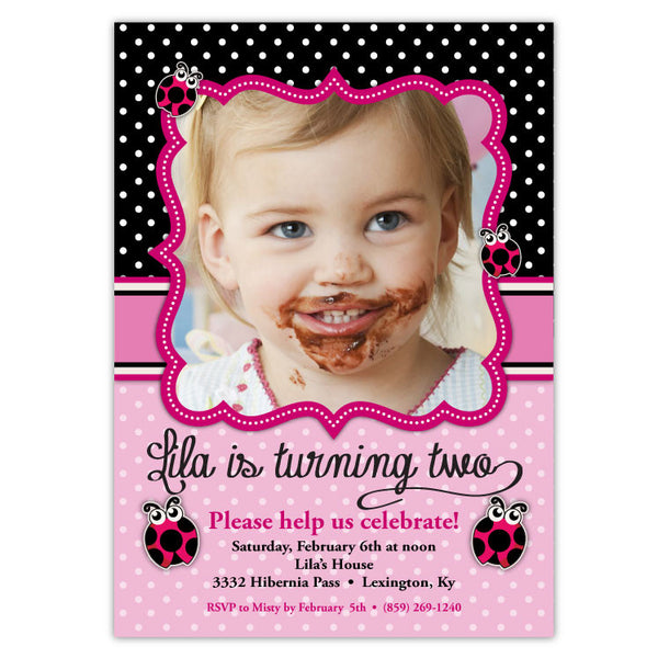 Ladybugs Birthday Invitations (pink)