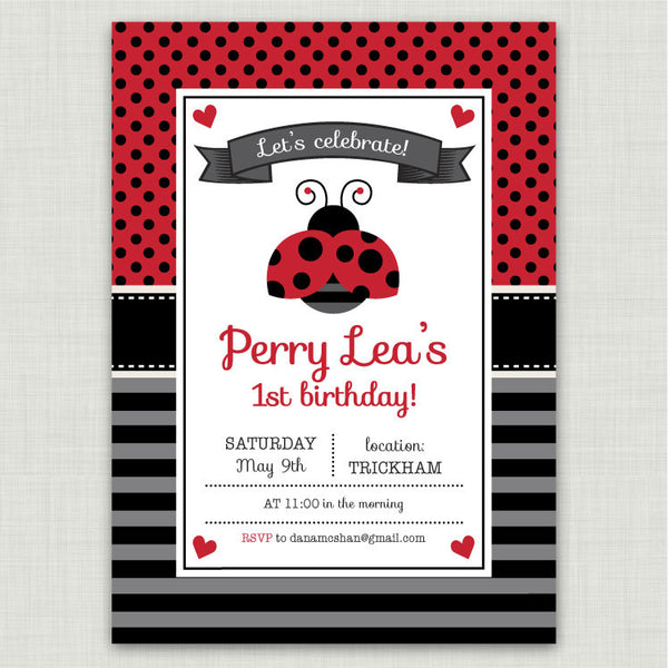 Ladybugs Birthday Invitations