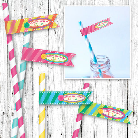 La La Loopsy Inspired Straw Flags