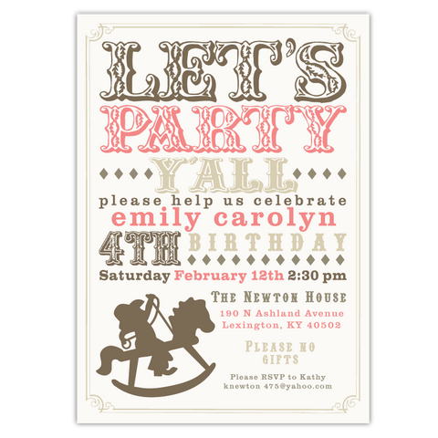 Rocking Horse Cowboy Invitations (A)