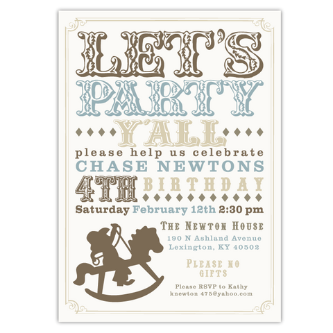 Rocking Horse Cowboy Invitations (B)