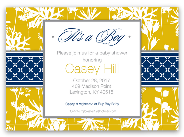Modern Floral Baby Shower Invitations (yellow / gray)