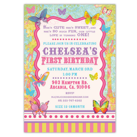 Lovely Butterflies Birthday Invitations
