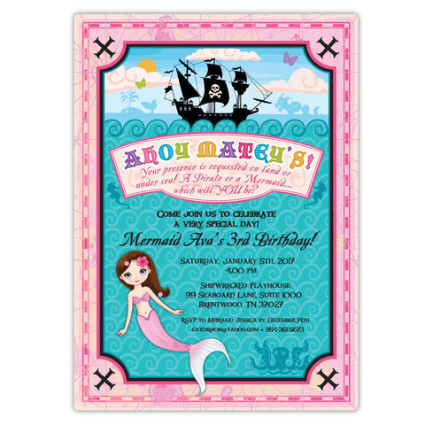 Mermaid and Pirate Party Invitations