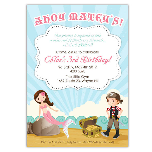 Mermaid Pirate Party Invitations (A)