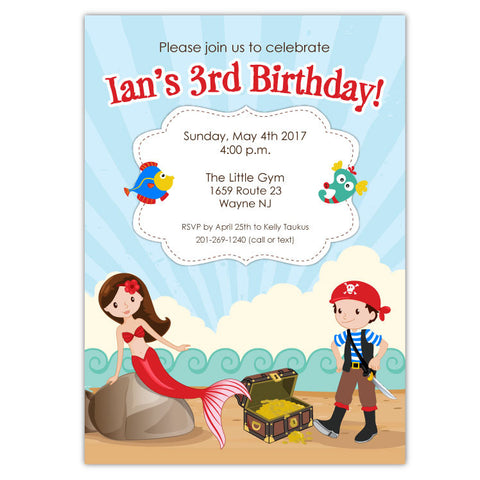 Mermaid and pirate party invitations ian lola design boutique mermaid pirate party invitations b stopboris Images