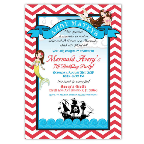 Mermaids Birthday Invitation (B)
