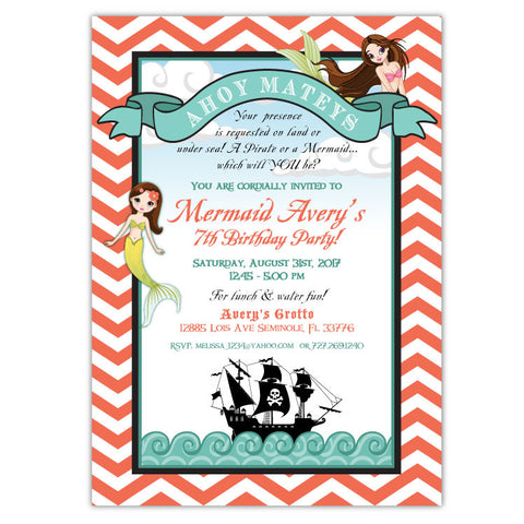 Mermaids Birthday Invitation (A)