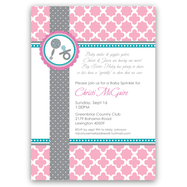 Modern Rattle Baby Shower Invitations