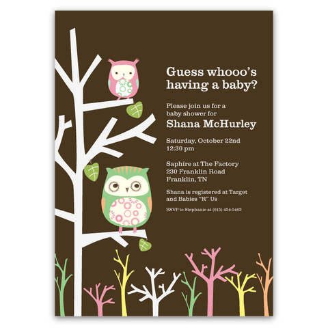 Modern Owls Baby Shower Invitations