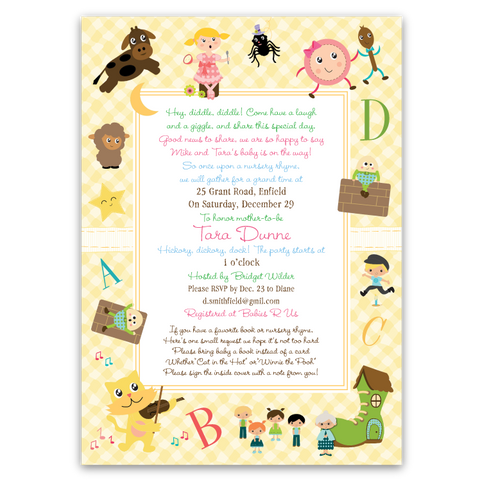 Nursery Rhymes Baby Shower Invitations (yellow)