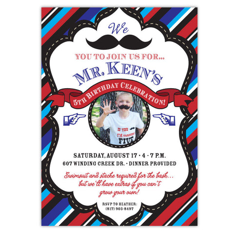 Mustache Bash Birthday Invitations