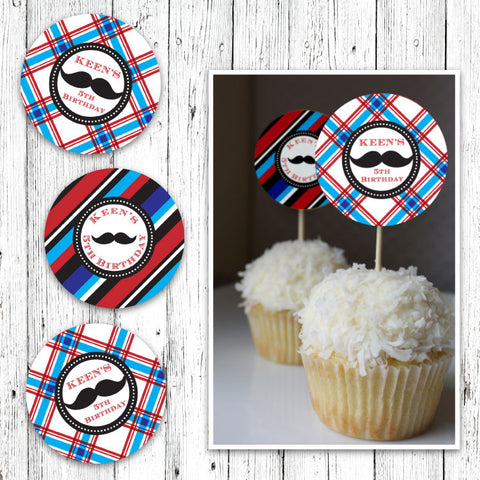 Mustache Bash Cupcake Toppers