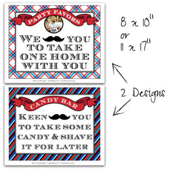 Mustache Bash Party Signs