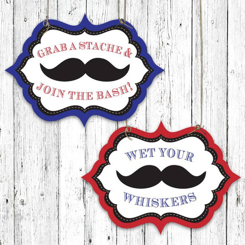 Mustache Bash Shaped Party Signs (A)