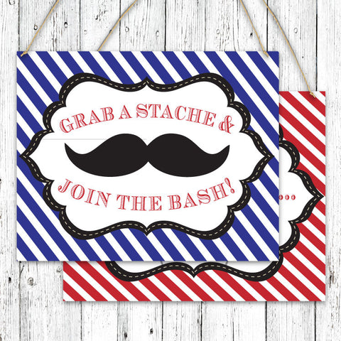 Mustache Bash Striped Party Signs