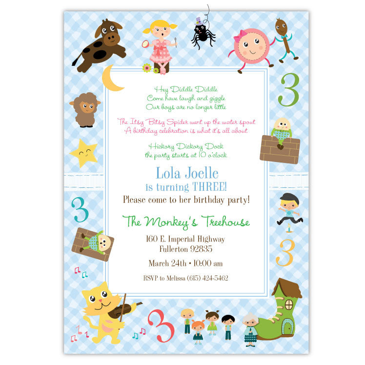 Nursery Rhymes Birthday Invitations Ian Lola Design Boutique