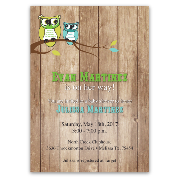 Vintage Owl Baby Shower Invitations: Owl Barn Baby Shower Invitations (boy)