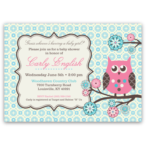 Owl Tree Baby Shower Invitations (teal)