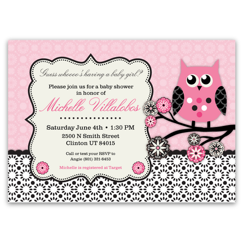 Owl Tree Baby Shower Invitations (pink / black)