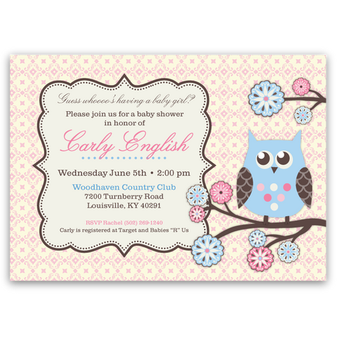 Owl Tree Baby Shower Invitations (pink)