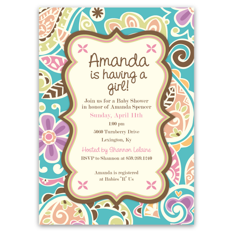 Paisley Baby Shower Invitations (A)
