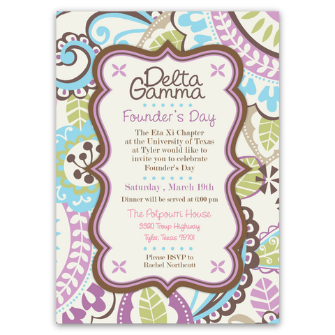 Preppy Paisley Party Invitations (B)