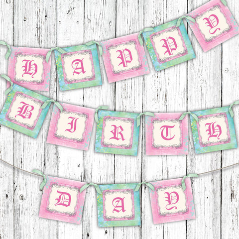 Pastel Princess Castle Party Banner
