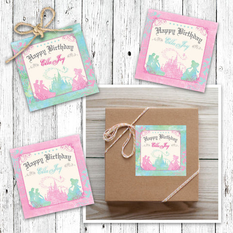 Pastel Princess Castle Favor Tags (B)