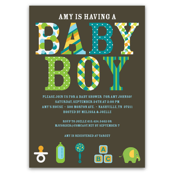 Pattern Letters Baby Shower Invitations (boy)
