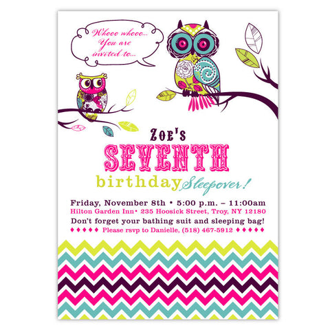Patterned Owls Birthday Invitations
