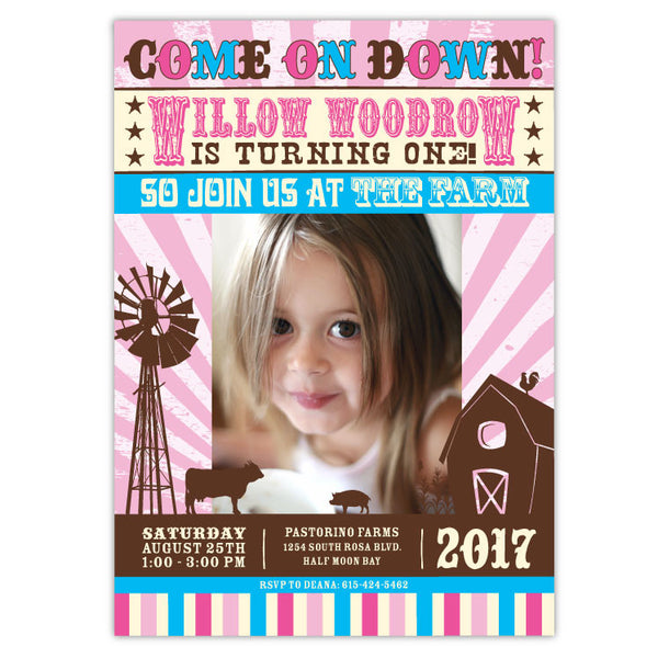 Pink Farm Party Birthday Invitations