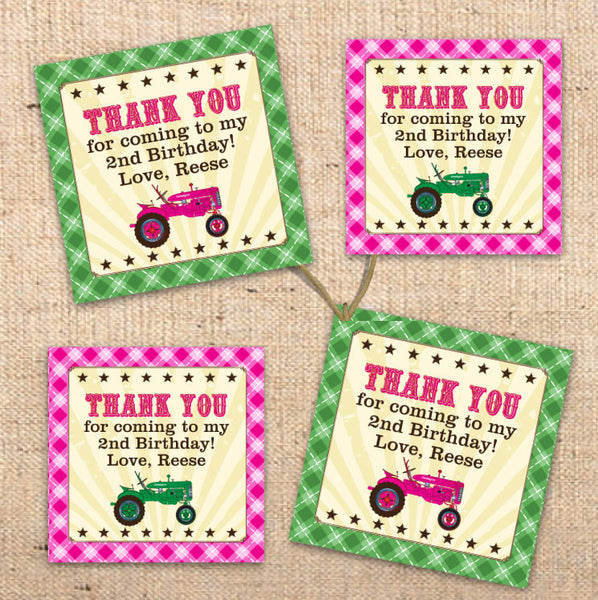 Girls Tractor Farm Party Favor Tags