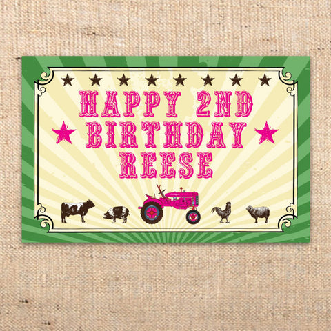 Girls Tractor Farm Party Welcome Sign