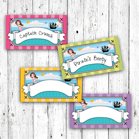 Mermaid and Pirate Party Menu Tents