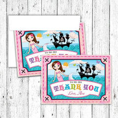 Mermaid and Pirate Party Thank You Notecards