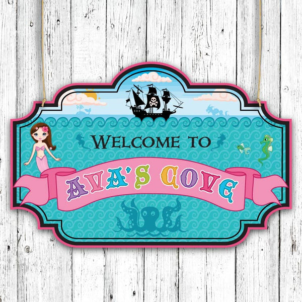 Mermaid and Pirate Party Welcome Sign