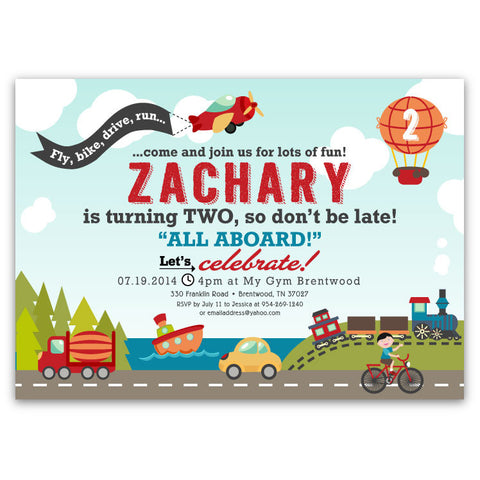Planes Trains and Cars Birthday Invitations