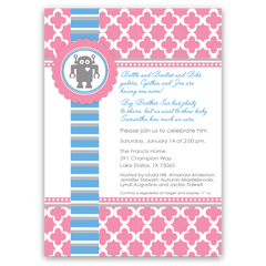 Preppy Robot Baby Shower Invitations